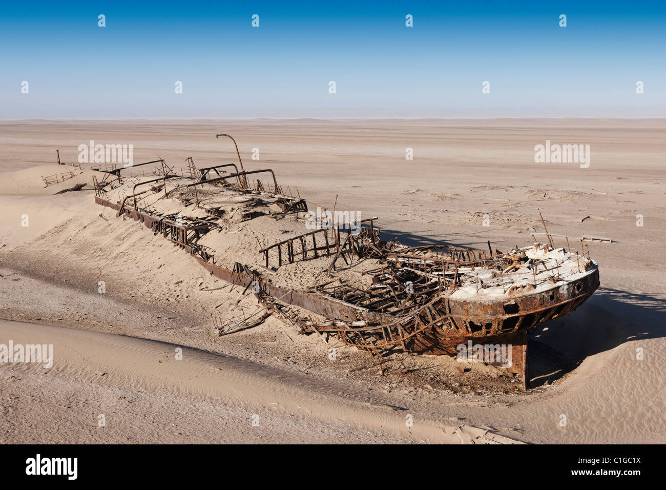 The Eduard Bolhen wreck, a supply ship for the miners that ran aground in 1909 - Stock Image