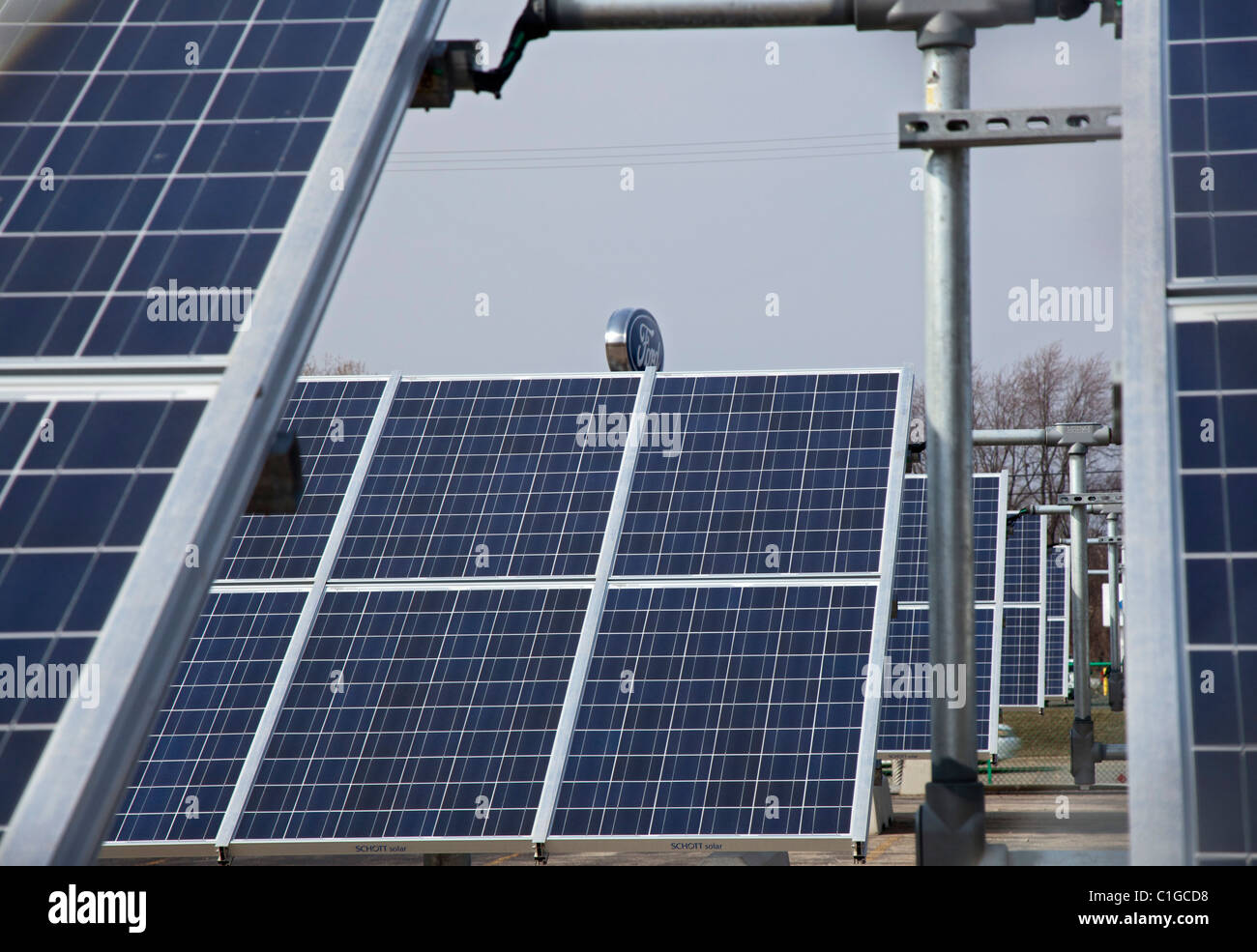 Wayne, Michigan - A 500-kilowatt solar array helps power Ford Motor Co.'s Michigan Assembly Plant. - Stock Image