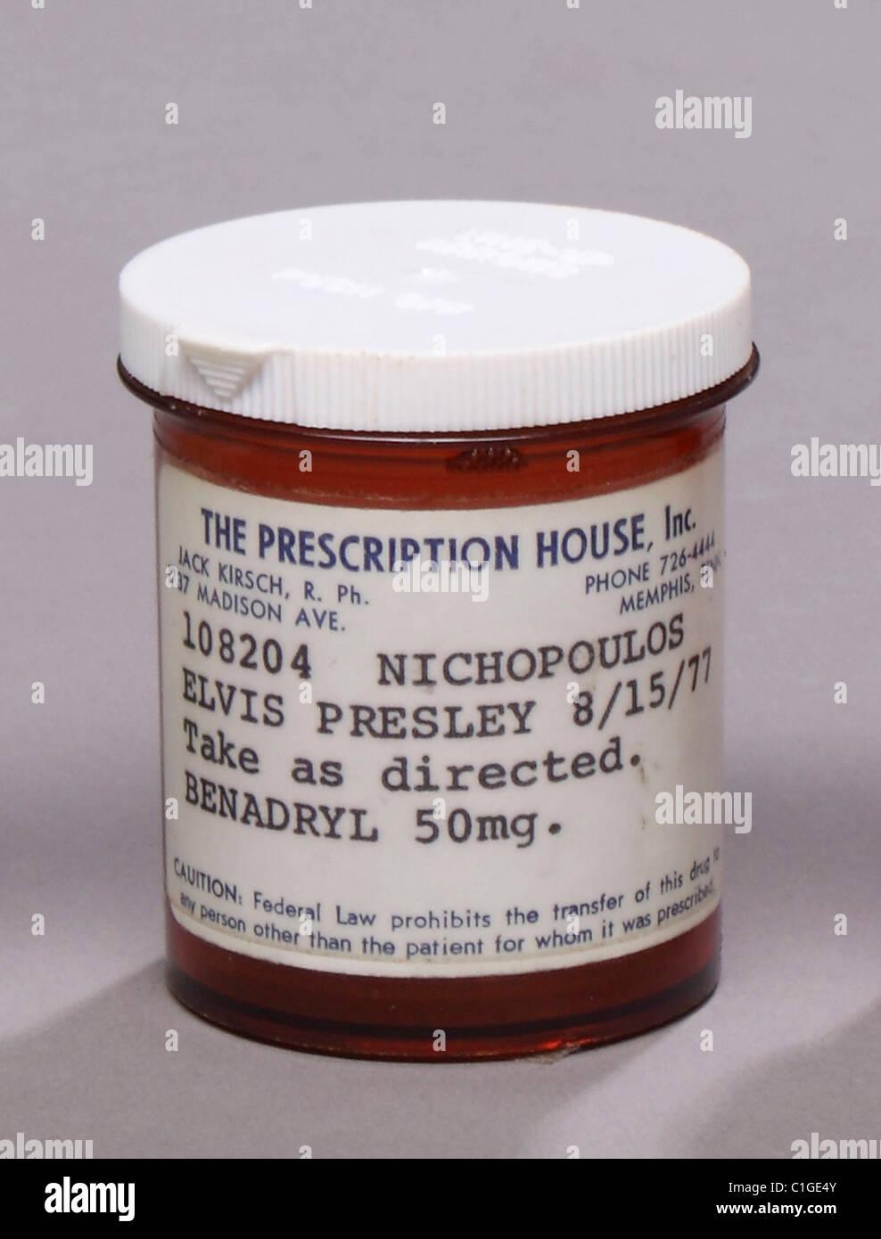 Elvis Presley prescription bottle ELVIS PILL BOTTLES UP FOR