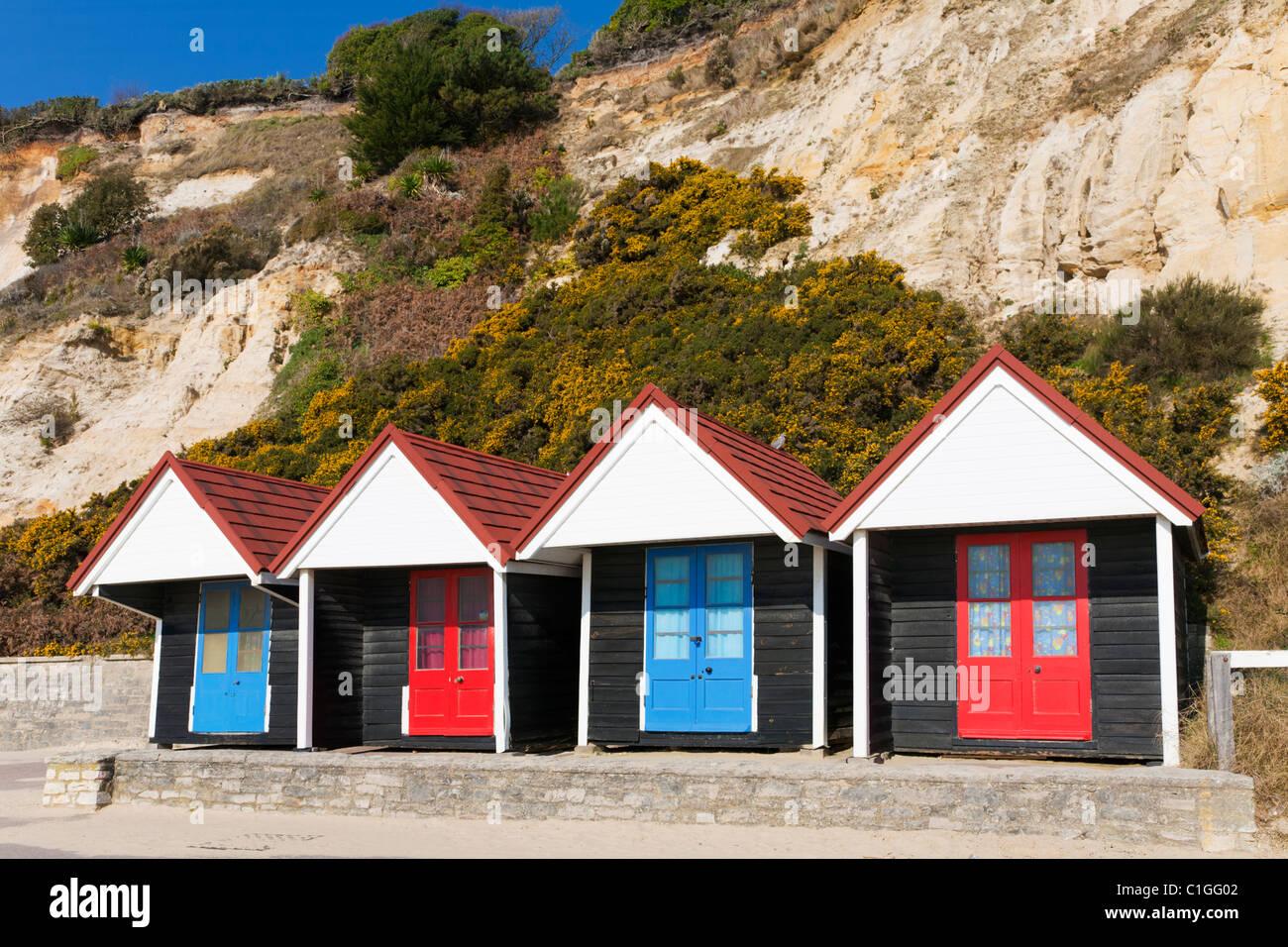 Beach Huts at Branksome Chine Poole Dorset Stock Photo