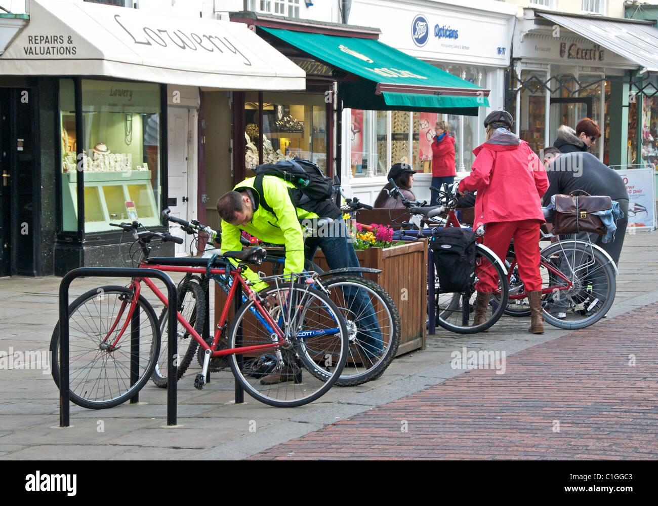Bike bicycle rack parking in a city centre - this is Chichester in West Sussex. UK - Stock Image