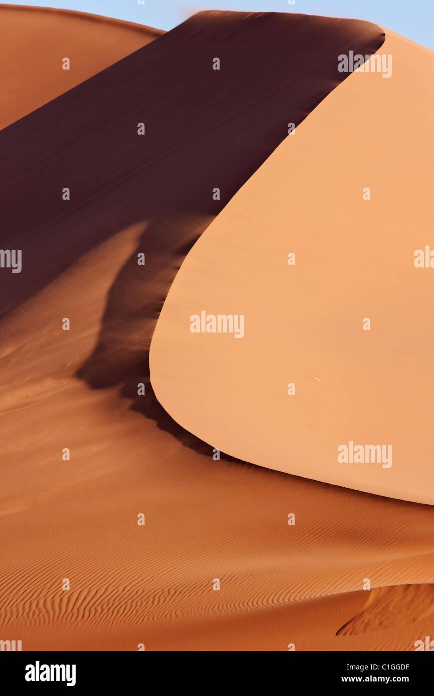 Red sand dunes at Sossusvlei. Namib desert. Namib-Naukluft N.P, Namibia - Stock Image
