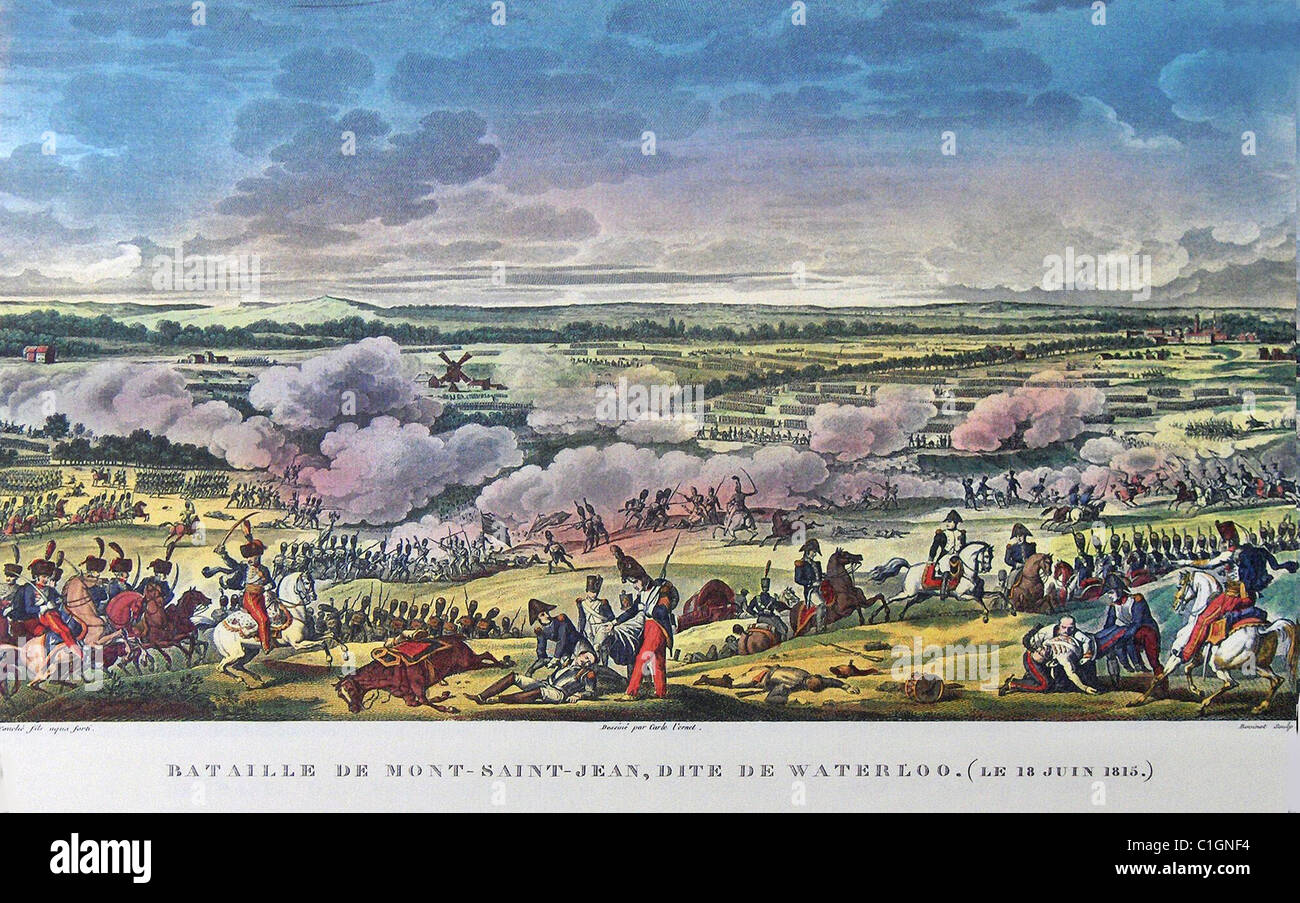 BATTLE OF WATERLOO 1815 from French position with Napoleon  mounted lower right. British position on Mont St Jean - Stock Image