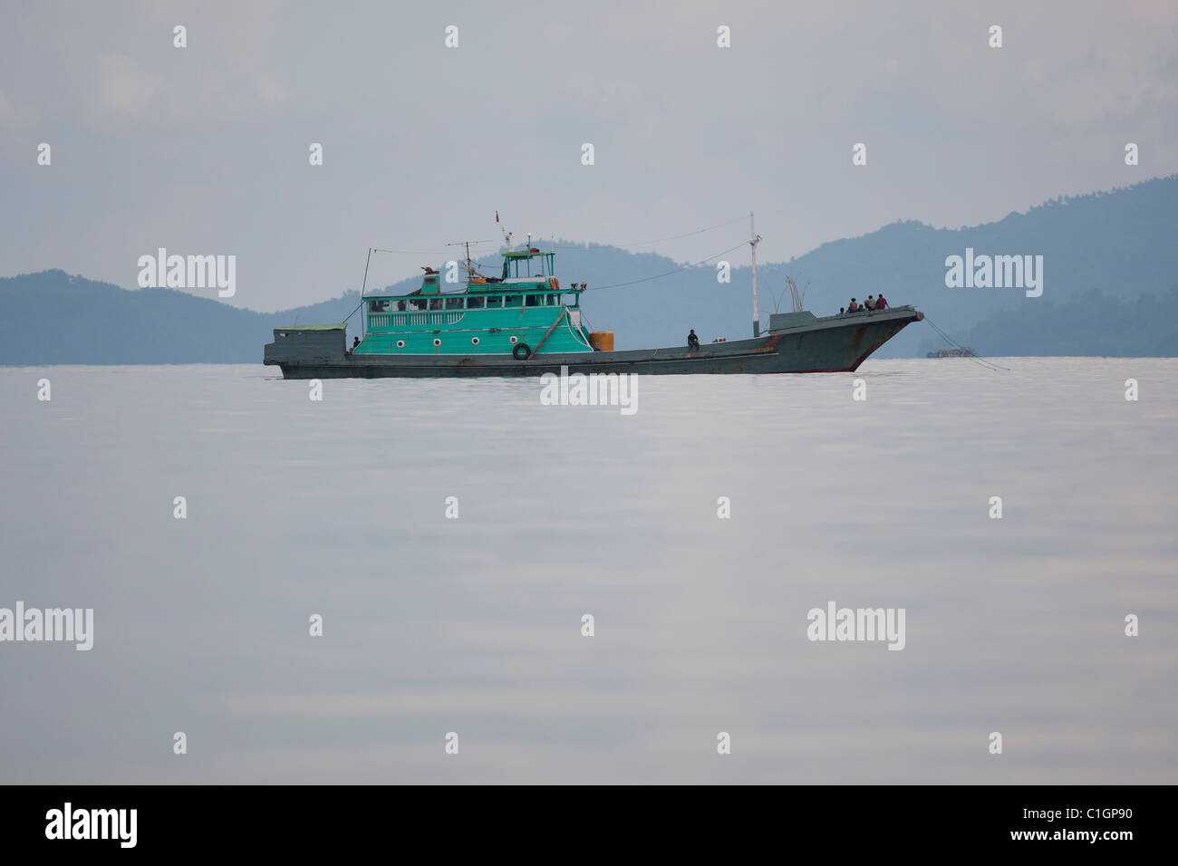 Boat off North Sulawesi, Indonesia - Stock Image