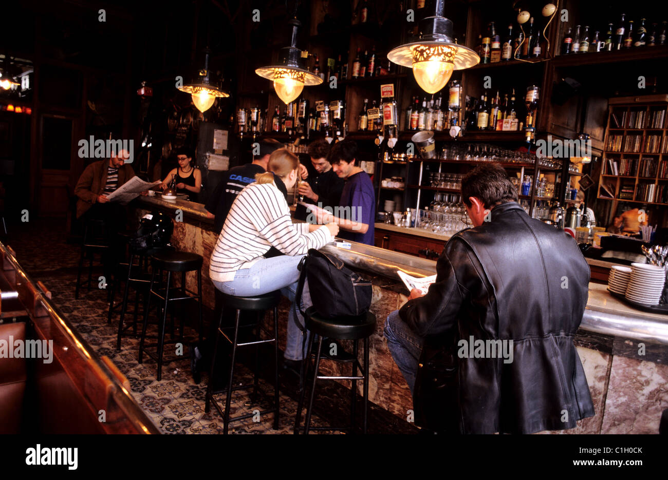 France, PARIS, interieur du Cafe Charbon, rue Oberkampf - Stock Image