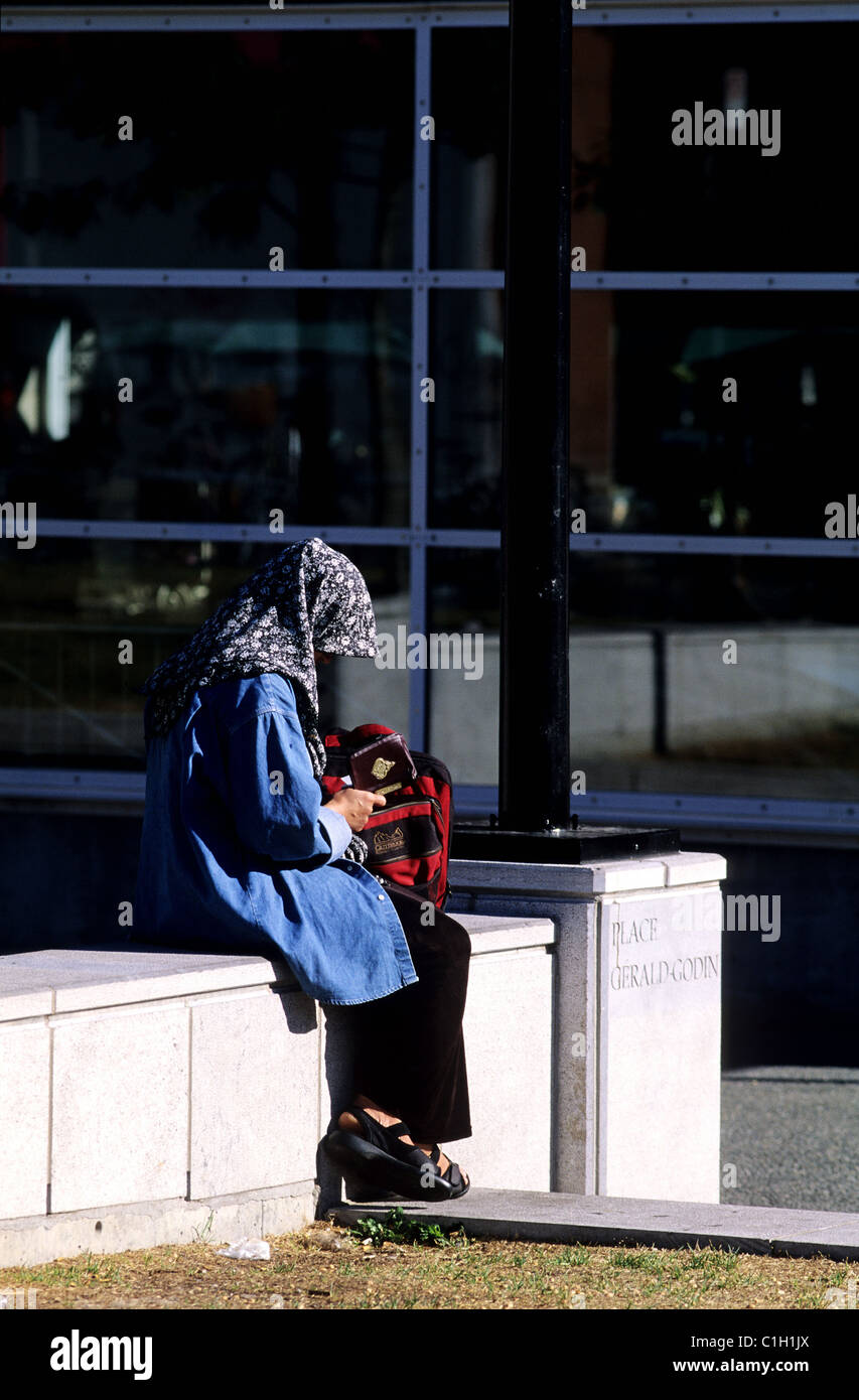 Canada, Quebec, Montreal, multiethnic city, moslem woman reading a religious text - Stock Image