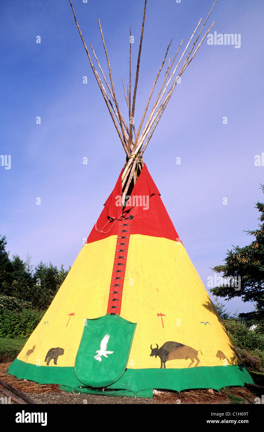 Canada, Quebec Province, Gaspesie, gaspe, Mic Mac tepee - Stock Image