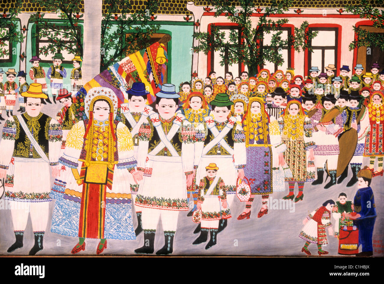 Serbia, in campaigns, the Serbian payasannes paints pictures which they sell to the tourists - Stock Image