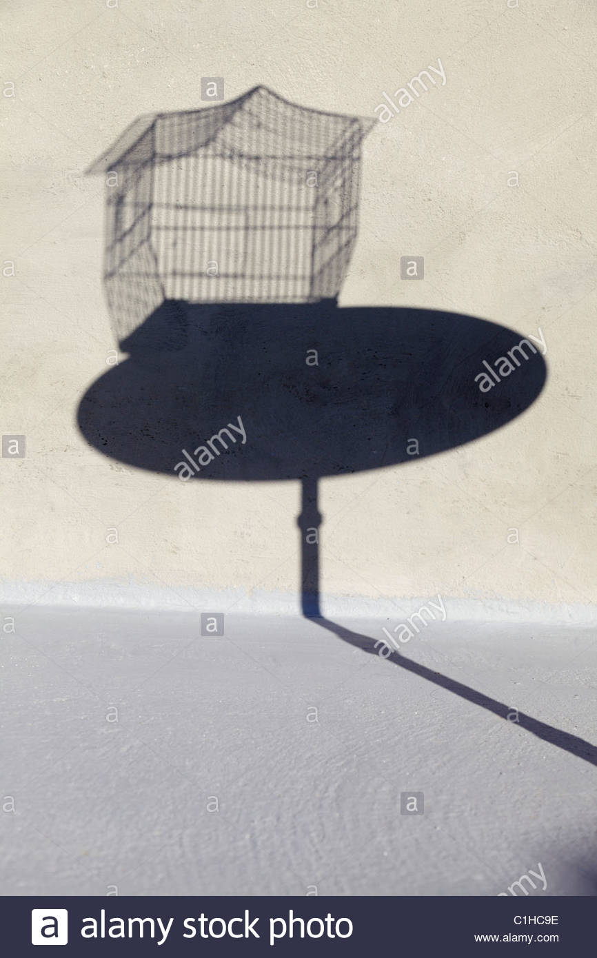 shadow of empty birdcage on a little round table - Stock Image