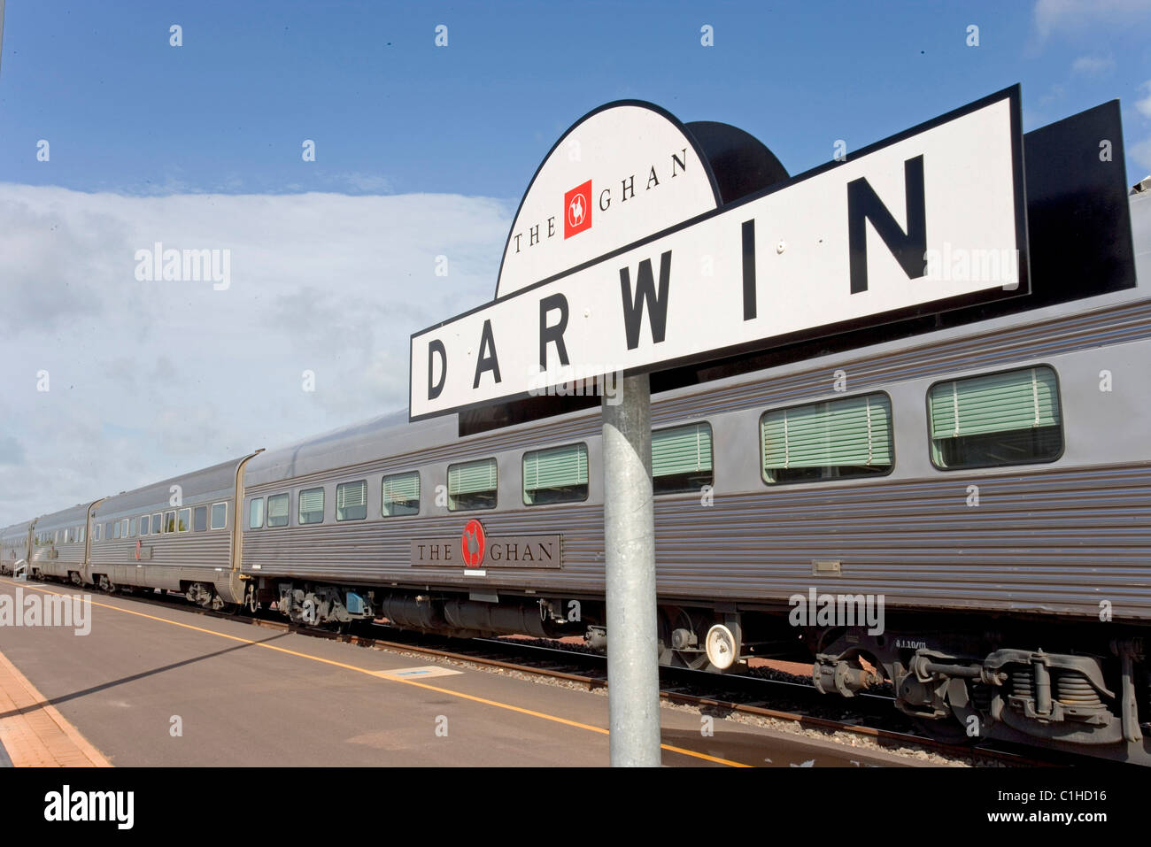 Australia Northern Territory Darwin The sleepers stewardess(train going from Darwin to Adelaide through Australia - Stock Image