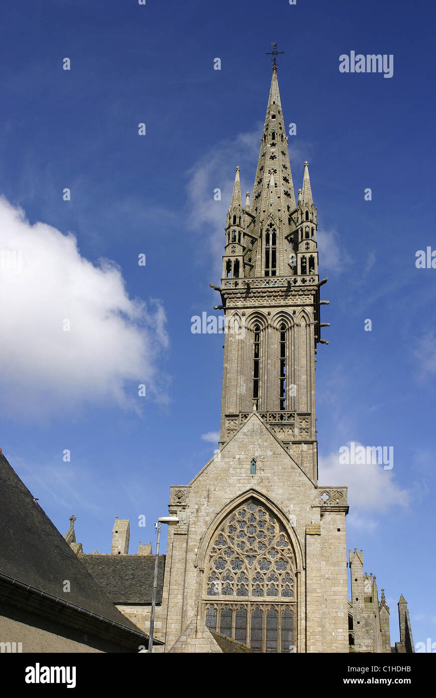 France, Finistere, Saint Pol de Leon, church of Notre Dame de Kreisker (end of the XIVth century) - Stock Image