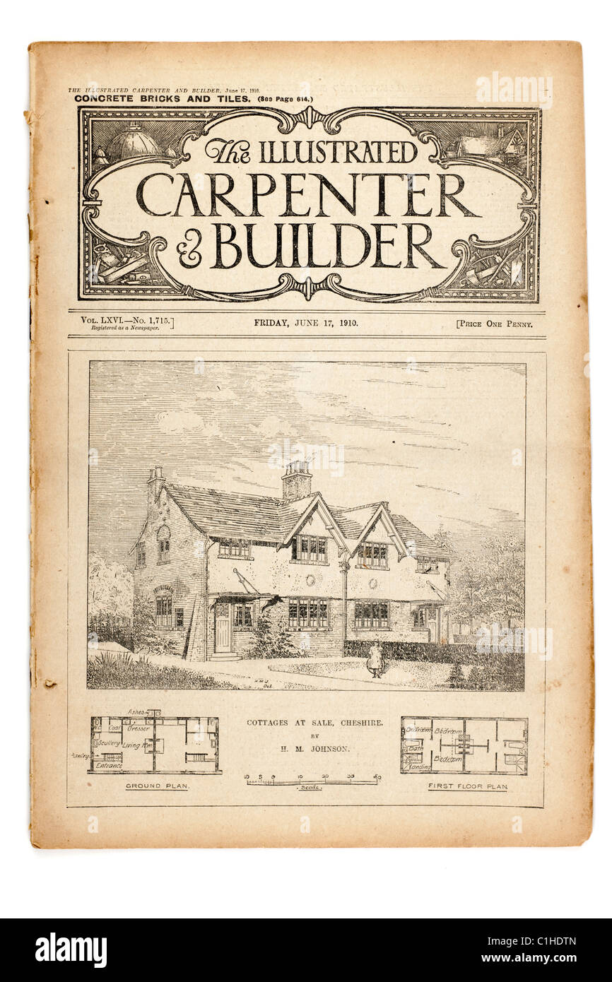 Old Vintage Magazine The Illustrated Carpenter And Builder Dated June17 1910 EDITORIAL ONLY