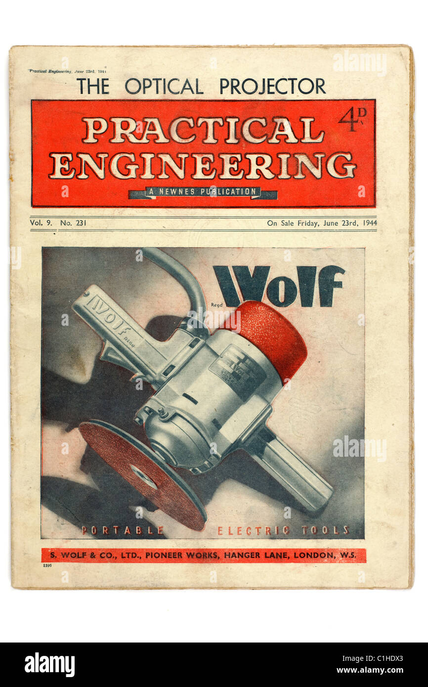 Old vintage magazine Practical Engineering dated June 23rd 1944. EDITORIAL ONLY - Stock Image