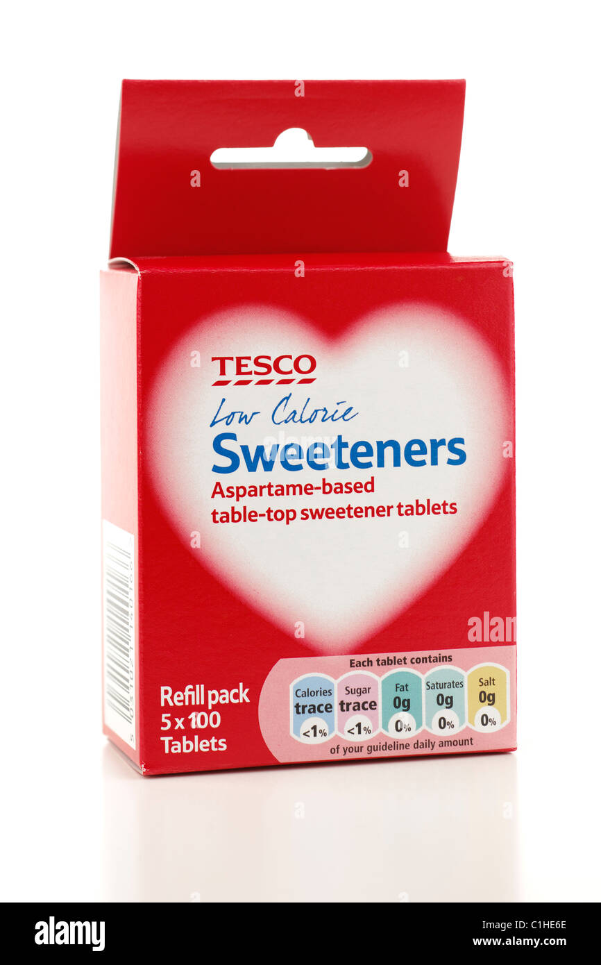 Refill pack of 5 100 tesco low calorie Aspartame based sweeteners - Stock Image