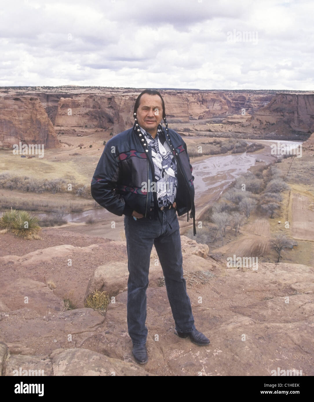 Actor and native American activist Russell Means in the Canyon de Chelly near his home in Arizona. - Stock Image