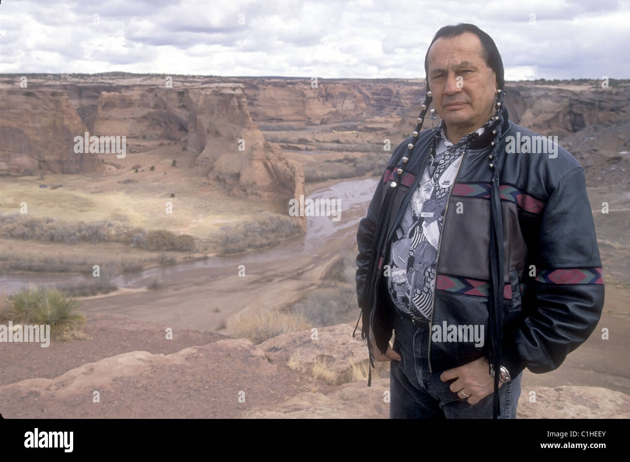 Actor and native American activist Russel Means in front of the Canyon de Chelly, near his home in Arizona. - Stock Image