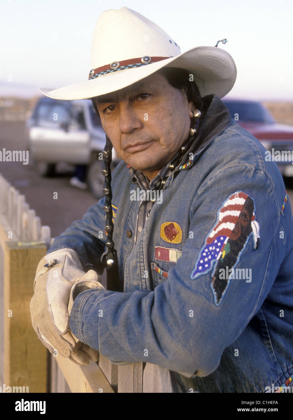 Actor and native American activist Russel Means outside his home in Arizona. - Stock Image