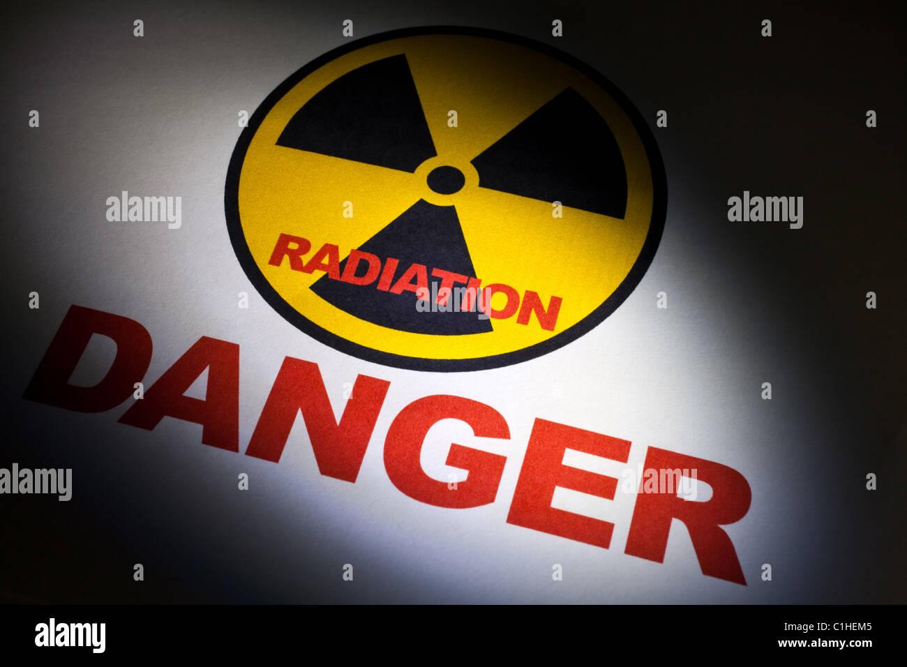 Radiation hazard sign for background - Stock Image