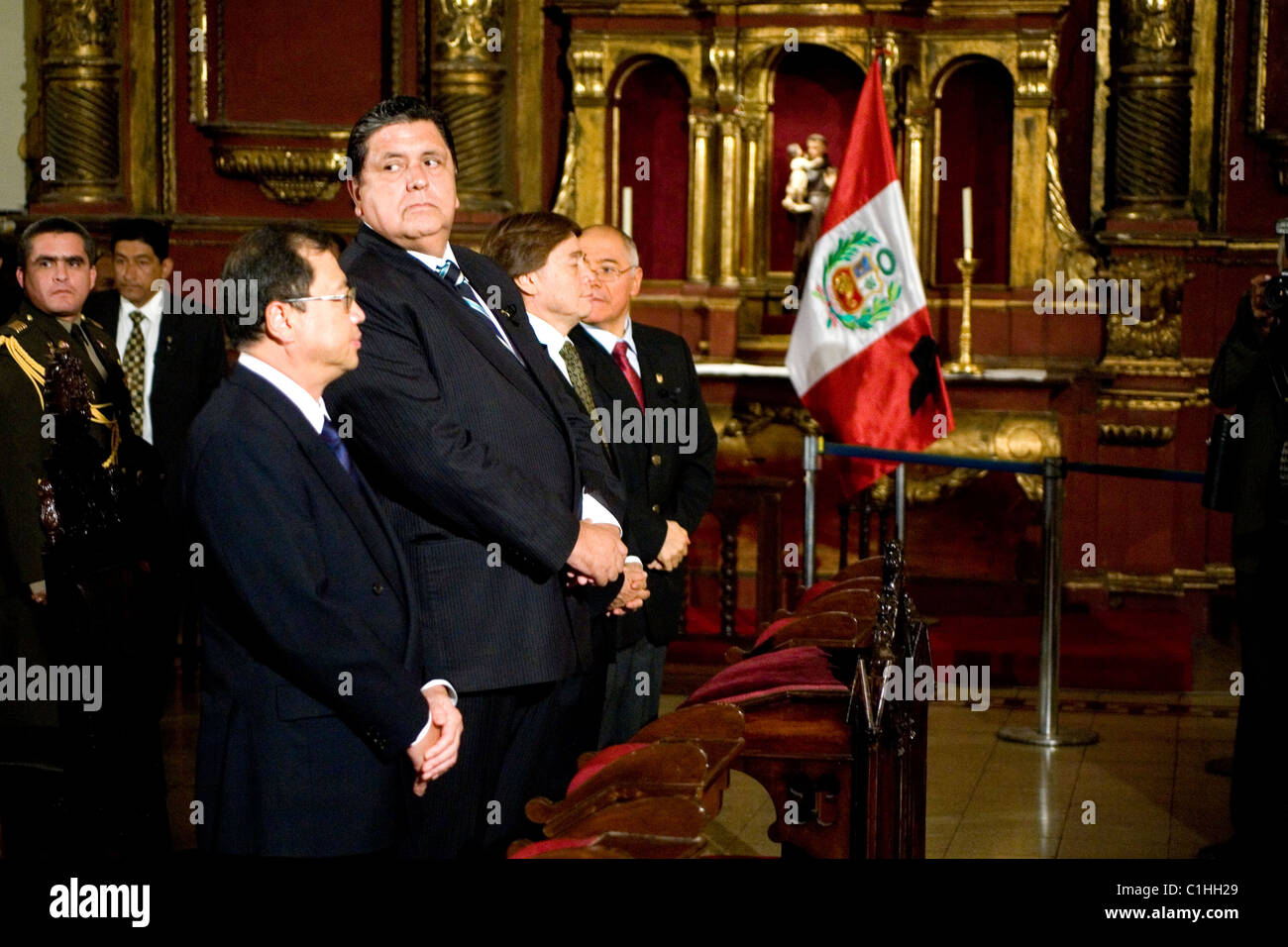 Peruvian President Alan Garcia with Japanese ambassador Takako Akamine in the cathedtal of Lima, Peru'. - Stock Image