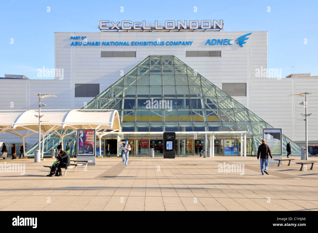Excel Centre & international convention centre exhibition halls in modern building main entrance below glass - Stock Image
