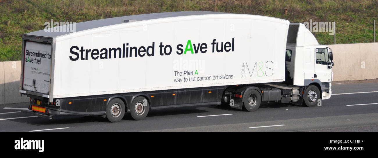 Marks and Spencers delivery lorry with carbon emissions slogan - Stock Image