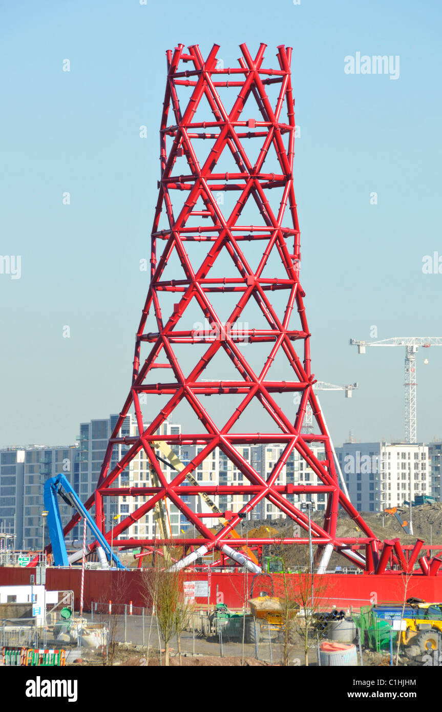 Base tier of central structural core of red steel column on ArcelorMittal Orbit tower for London 2012 Olympics Stratford - Stock Image