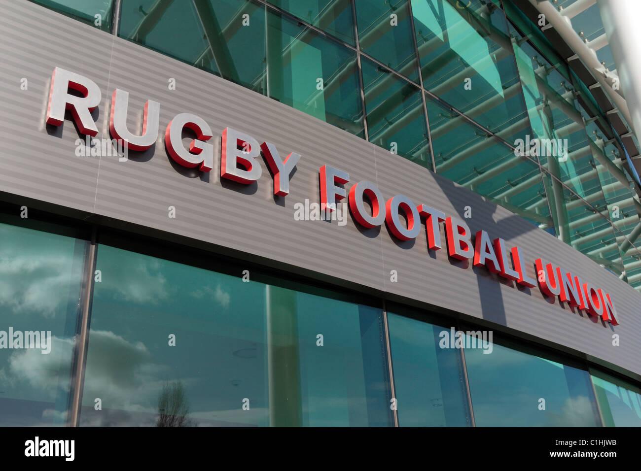 'Rugby Football Union' sign outside Twickenham Rugby Stadium, London, UK. - Stock Image