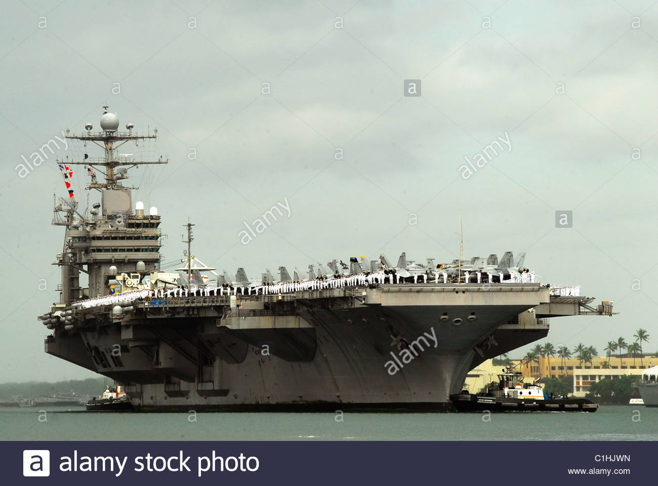 2011 March - US NAVY - aircraft carrier USS Abraham Lincoln PEARL HARBOR - Stock Image