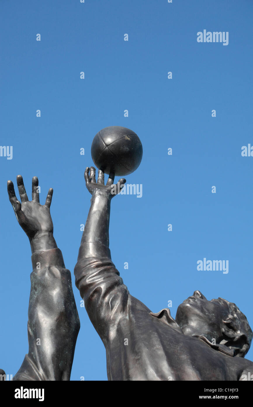 Detail of the bronze sculpture by Gerald Laing, depicting a rugby line-out, outside Twickenham Rugby Stadium, London, Stock Photo