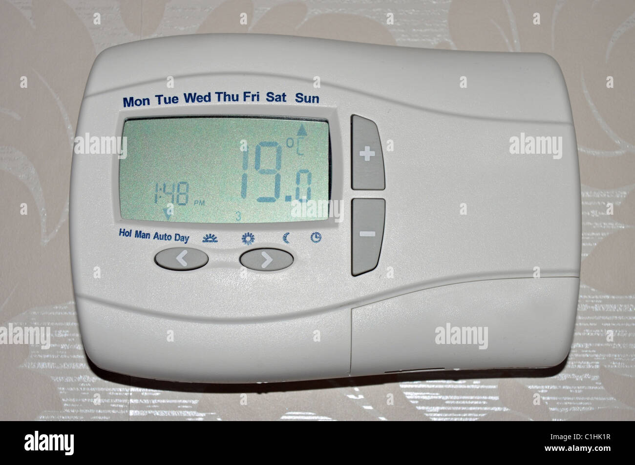 A wall mounted 'Programmable Room Thermostat' - Stock Image