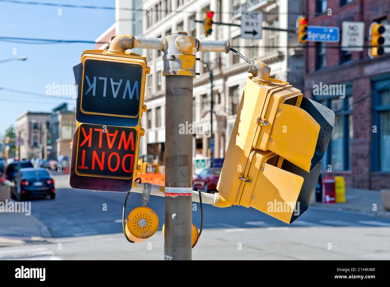 Don't Walk Pedestrian Cross Walk Sign - Stock Image