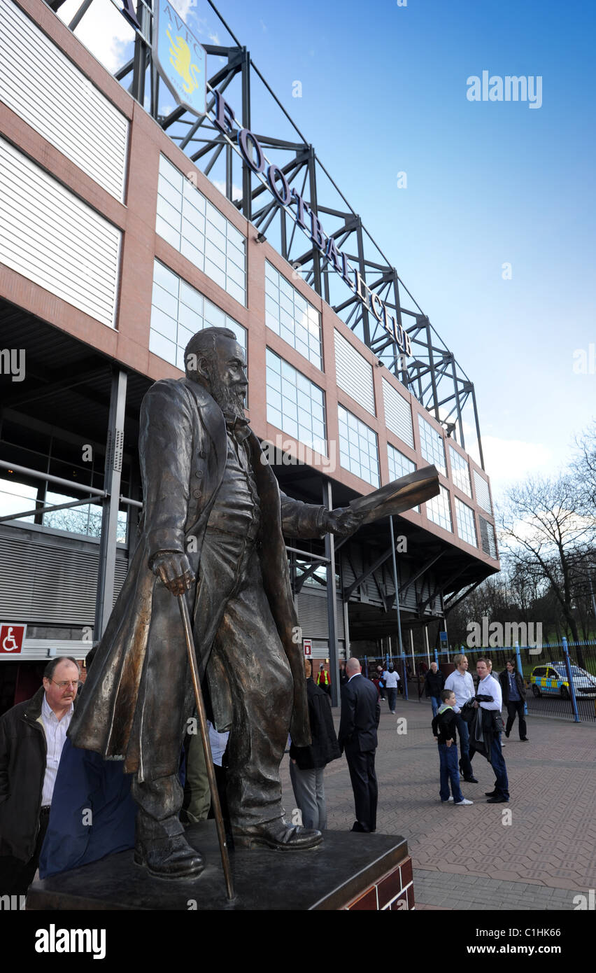 Statue of William McGregor founder of the Football League in 1888 outside Villa Park home of Aston Villa Football - Stock Image
