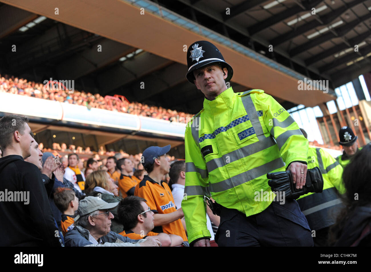 police officers policing football crowd uk - Stock Image