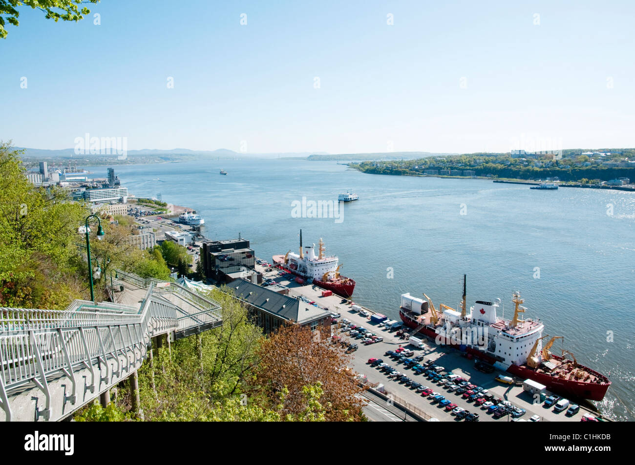 Canadian Fisheries and Oceans research ships in Quebec, Canada - Stock Image