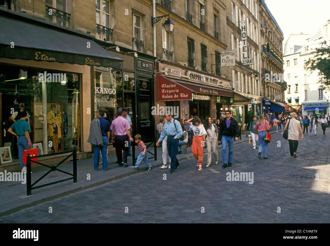 French people, tourists, restaurants, French food and drink, Rue de Harpe, Saint-Michel, Latin Quarter, Paris, Ile Stock Photo
