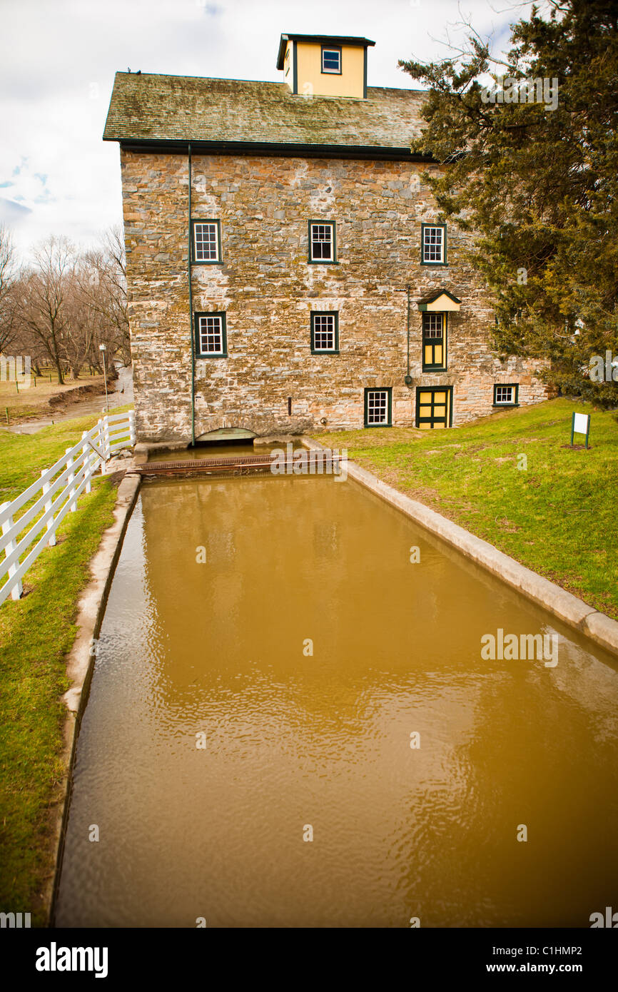 Mascot Roller Mills, historic water powered mill in Amish country Mascot, PA - Stock Image