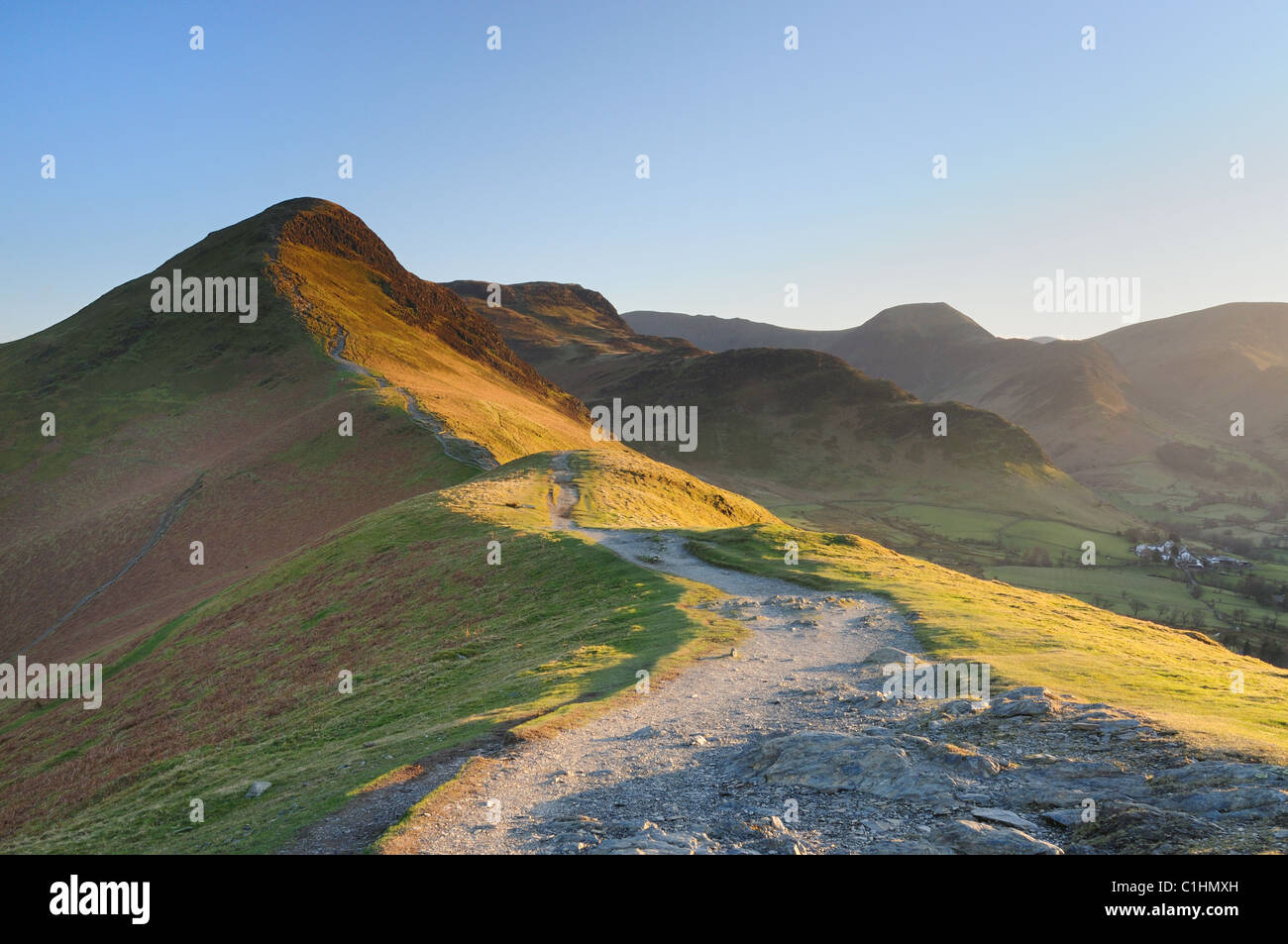 Late evening sunlight on Cat bells in spring in the English Lake District - Stock Image