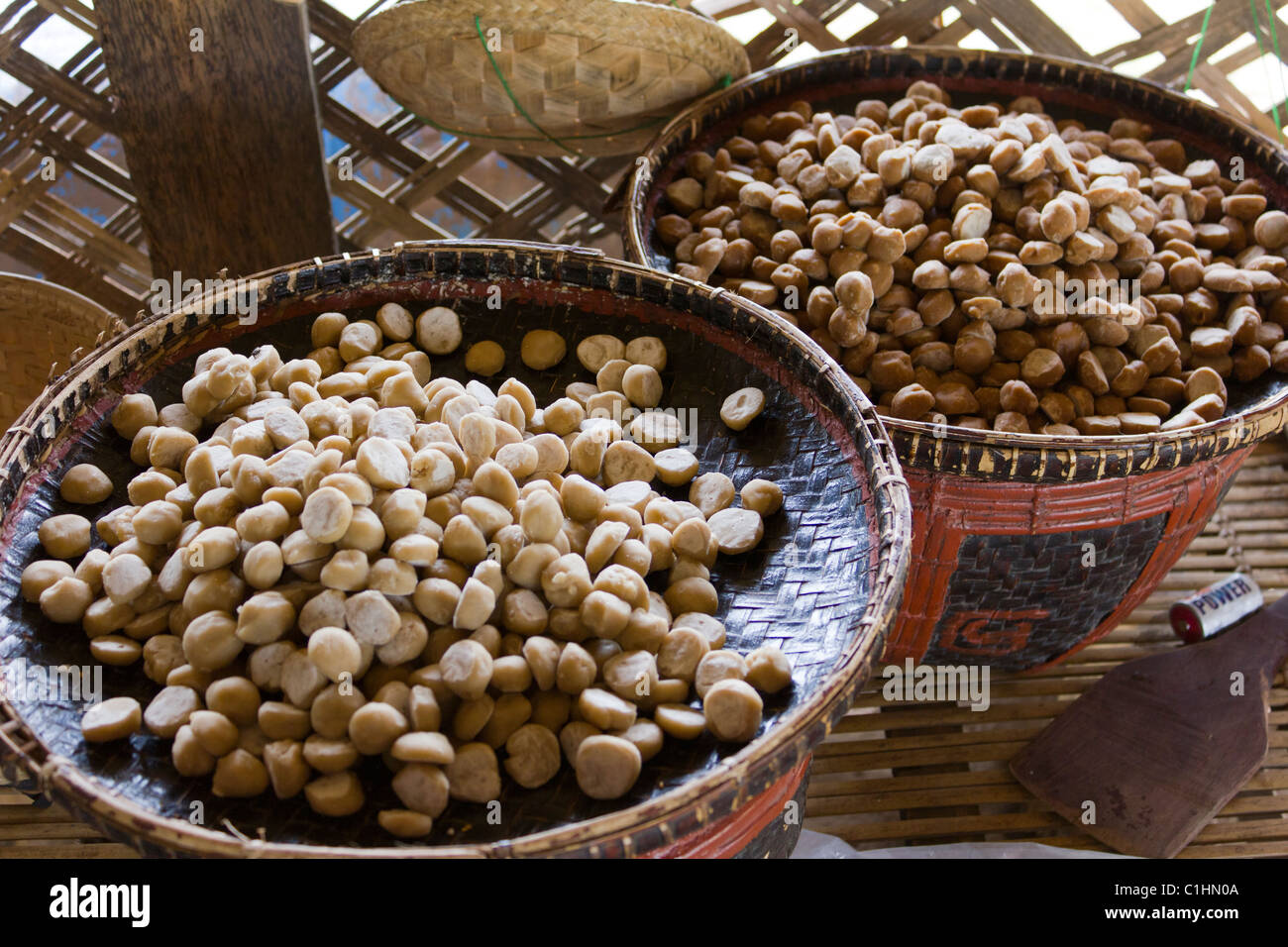sugar lumps made from the Palmyra or toddy palm, near Bagan, Myanmar - Stock Image