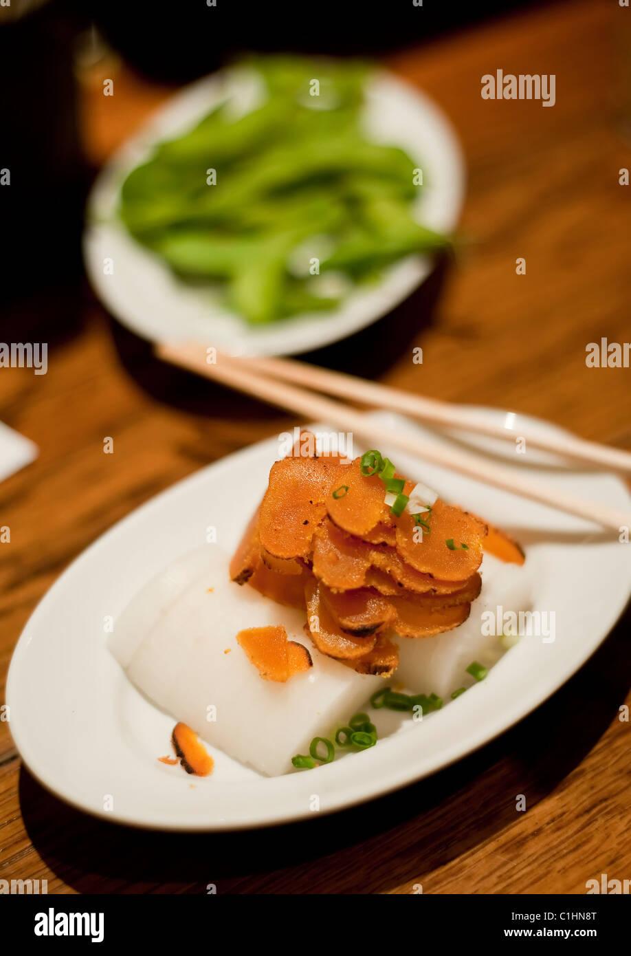 Japanese food, Botargo and radish - Stock Image