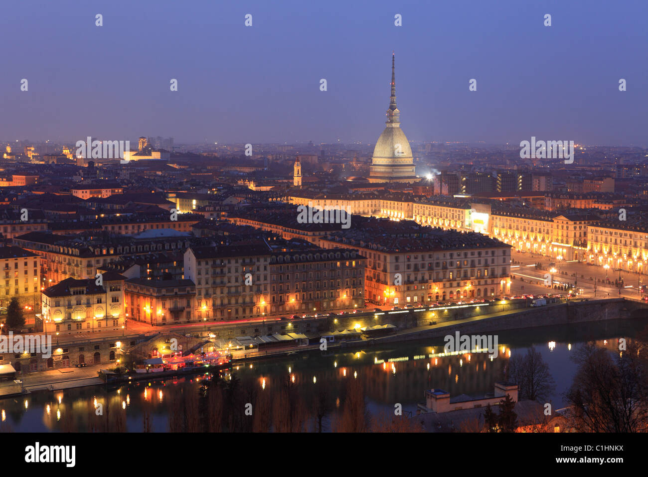 The Mole Antonelliana and cityscape, Turin, Italy - Stock Image