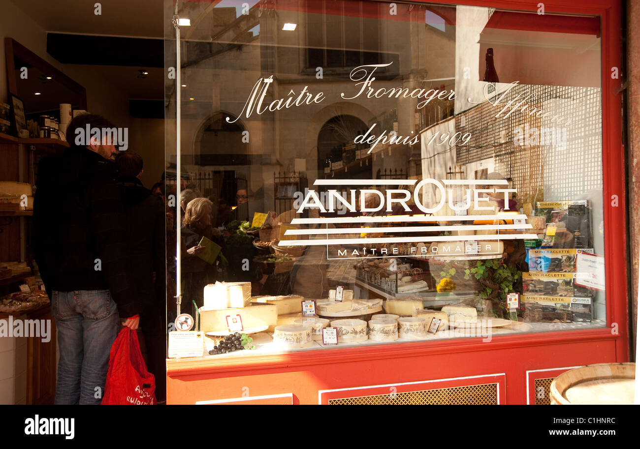 Paris, France - Androuet, famous fromagerie in rue Mouffetard - Stock Image