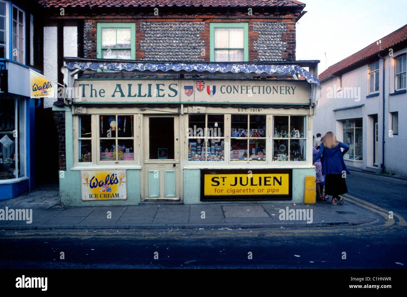 The Allies Confectionery Shop Norfolk England 1974    KATHY DEWITT - Stock Image