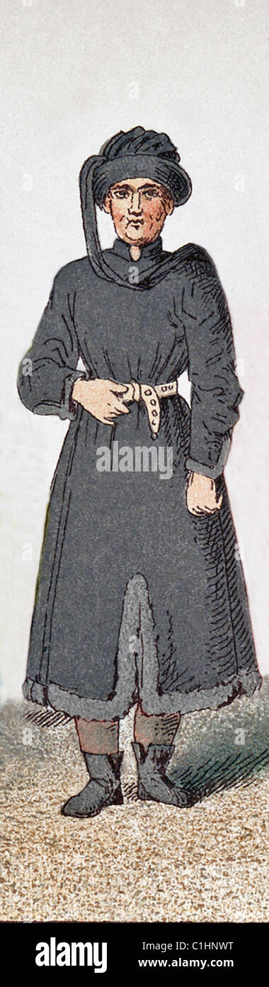 The figure here represents a French scholar around A.D. 1400. The illustration dates to 1882. - Stock Image