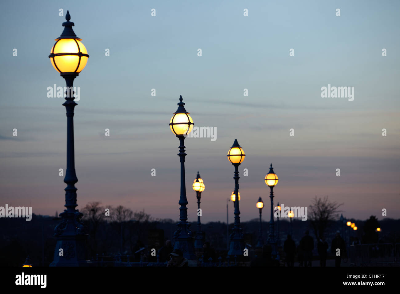 Lights at sunset at Alexandra palace - Stock Image