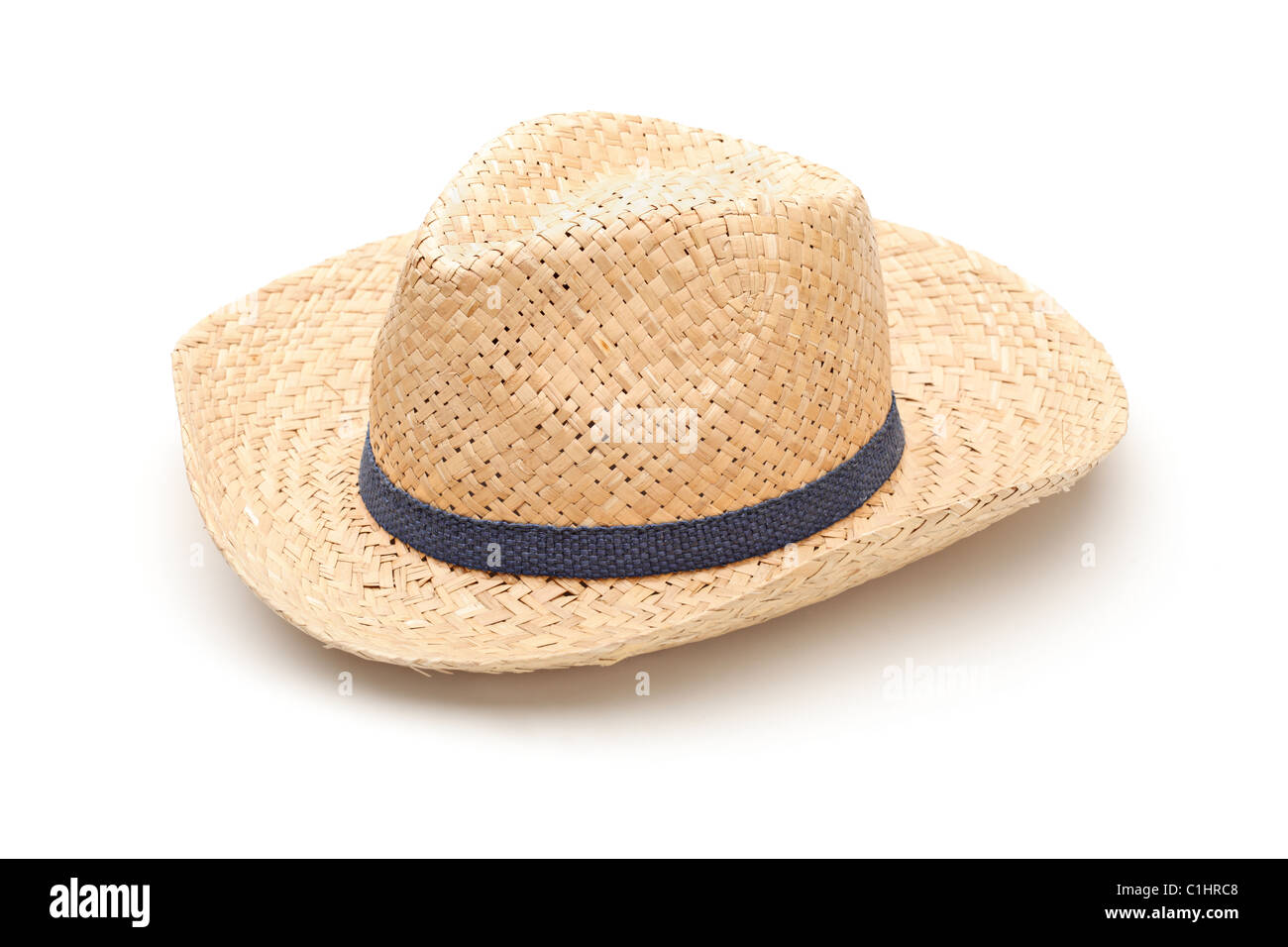 A straw hat with blue strap Stock Photo