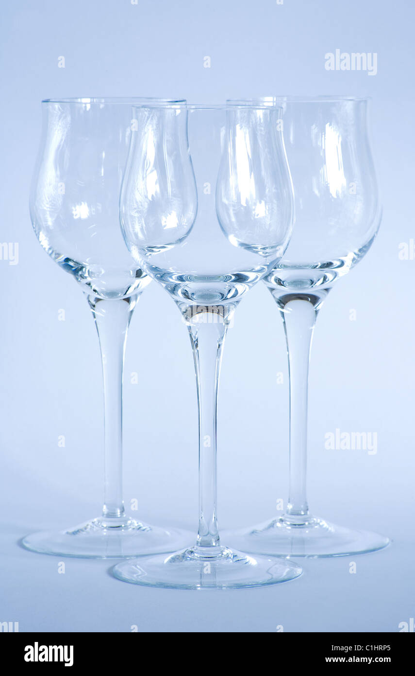 Arrangement Of Elegant Wine Glasses Shot With Cool Blue Filtering Stock Photo Alamy