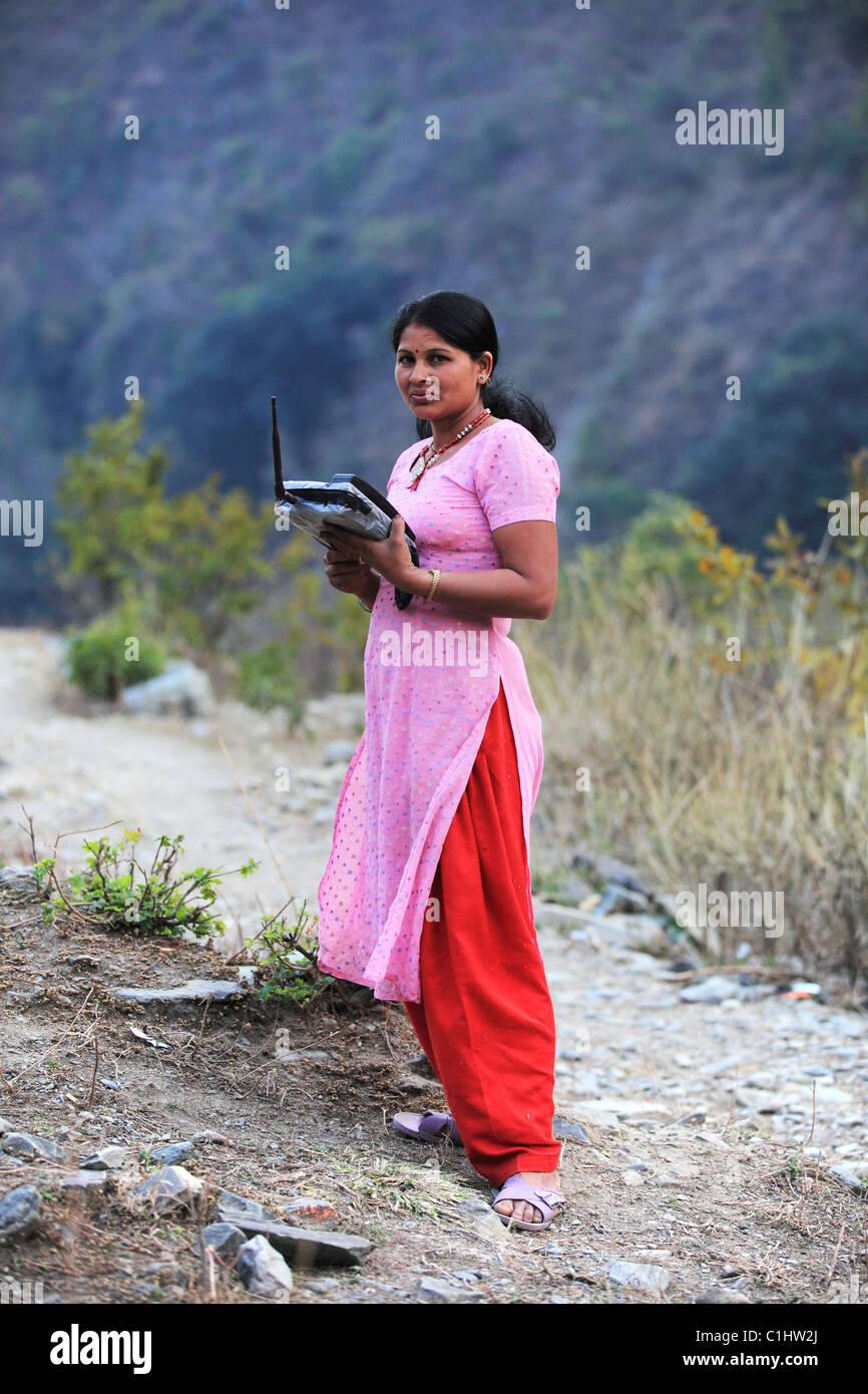 Nepali woman in the Himalaya - Stock Image