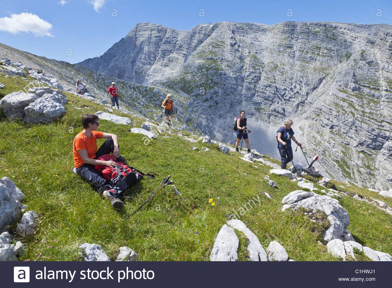 Hikers at Speikwiese, Warscheneck, Totes Gebirge, Bavaria, Germany, Europe Stock Photo