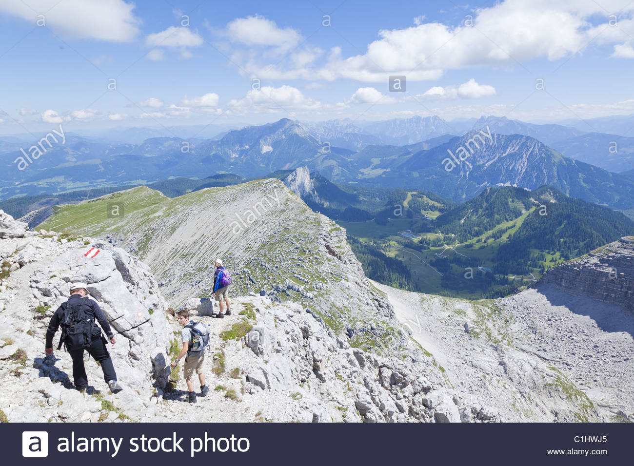 Hikers at Warscheneck, Totes Gebirge, Upper Austria, Austria, Europe Stock Photo