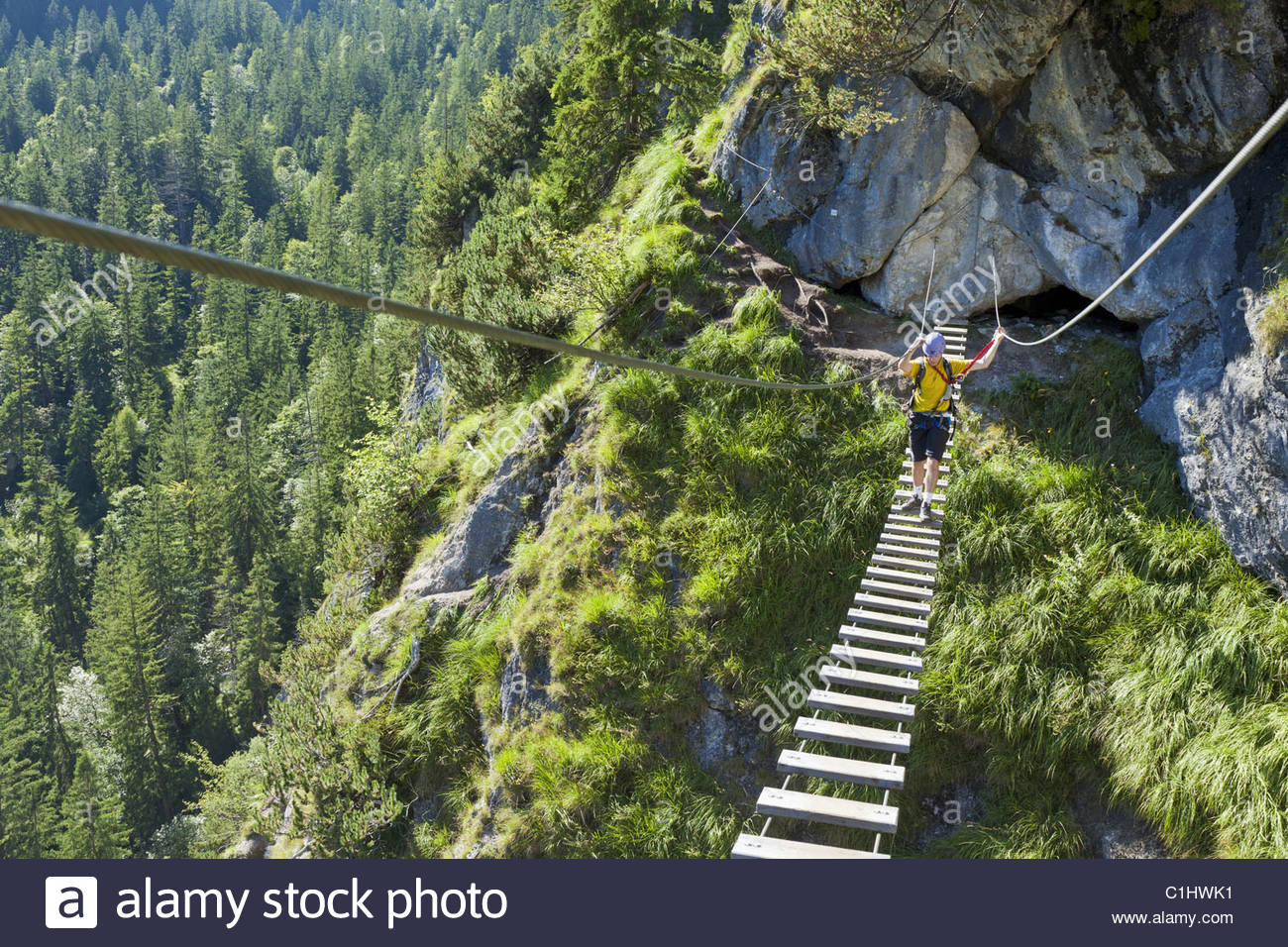 Fixed rope route at Gruenstein, Berchtesgaden Alps, Bavaria, Germany, Europe - Stock Image
